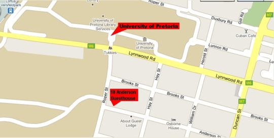 Map 10 Anderson Guesthouse in Brooklyn (PTA)  Pretoria Central  Pretoria / Tshwane  Gauteng  South Africa