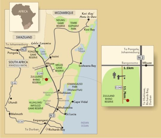Map African Spirit Game Lodge in Mkuze  Zululand  KwaZulu Natal  South Africa