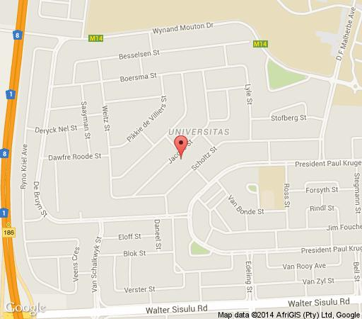 Map B & B @ Bloem in Bloemfontein  Mangaung  Free State  South Africa
