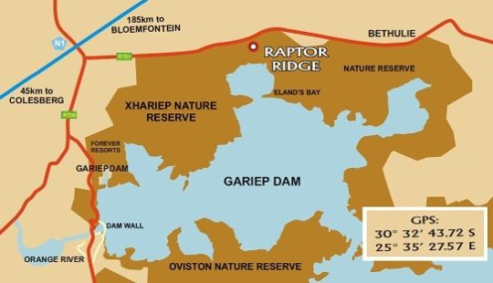 Map Raptor Ridge Lodge in Gariep Dam  Xhariep (Southern Free State)  Free State  South Africa
