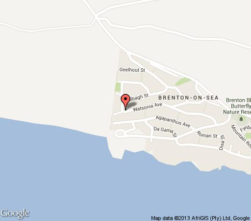 Map Brenton Beach House in Knysna  Garden Route  Western Cape  South Africa