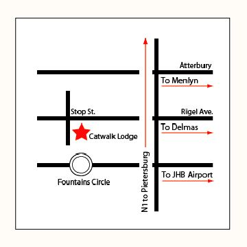 Map Catwalk Lodge  in Erasmusrand  Pretoria Central  Pretoria / Tshwane  Gauteng  South Africa