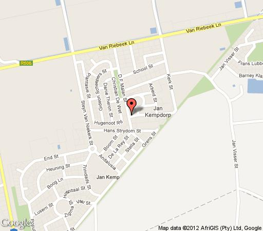 Map Jan Kemp Hotel in Jan Kempdorp  Diamond Fields  Northern Cape  South Africa