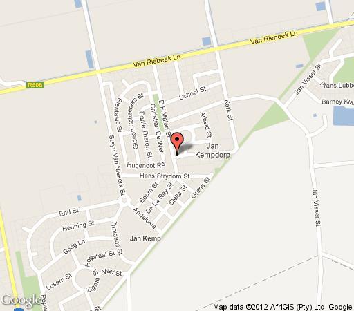 Map Jan Kemp Hotel in Jan Kempdorp  Diamond Fields  Northern Cape  Afrique du Sud