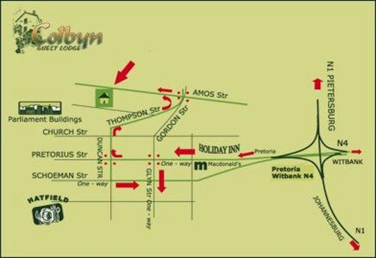 Map Colbyn Guest Lodge in Colbyn  Pretoria Central  Pretoria / Tshwane  Gauteng  South Africa