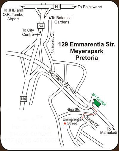 Map Murrayfield Villa Guest House in Meyerspark  Pretoria East  Pretoria / Tshwane  Gauteng  South Africa