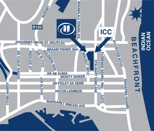 Map Hilton Durban in Durban Central  Durban  Durban and Surrounds  KwaZulu Natal  South Africa