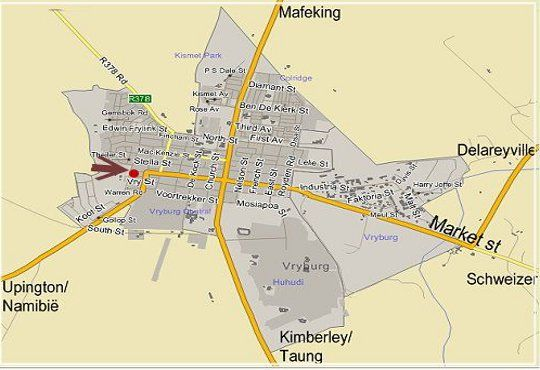 Map Villa Brocant Guesthouse in Vryburg  Bophirima  North West  South Africa