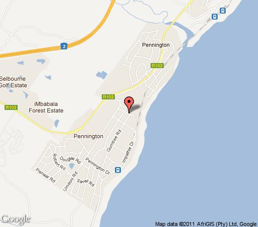 Map Nkomba Beach Cottage in Pennington  South Coast (KZN)  KwaZulu Natal  South Africa
