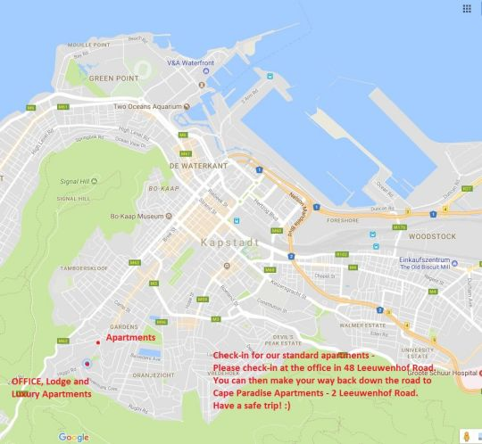 Map Cape Paradise Lodge in Higgovale  City Bowl  Kaapstad  Western Cape  Suid-Afrika