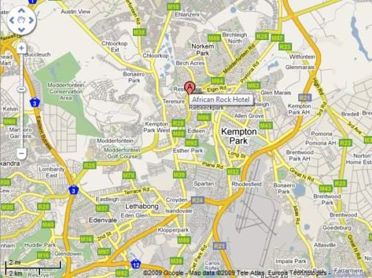 Map African Rock Hotel in Kempton Park  Ekurhuleni (East Rand)  Gauteng  South Africa