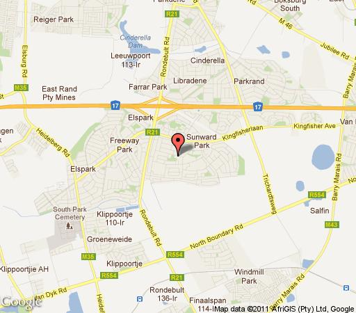 Map Afrique Boutique Self Catering in Boksburg  Ekurhuleni (East Rand)  Gauteng  South Africa