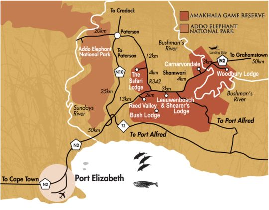 Map Amakhala Woodbury Tented Camp in Addo  Cacadu (Sarah Baartman)  Eastern Cape  South Africa
