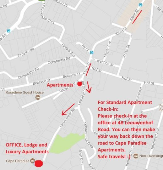 Map Cape Paradise Apartments in Higgovale  City Bowl  Cape Town  Western Cape  South Africa