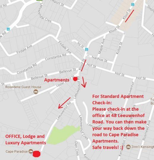 Map Cape Paradise Apartments in Higgovale  City Bowl  Le Cap  Western Cape  Afrique du Sud
