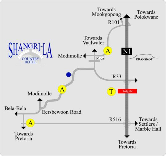 Map Shangri-La Country Hotel & Spa in Modimolle  Nylstroom  Bushveld  Limpopo  South Africa