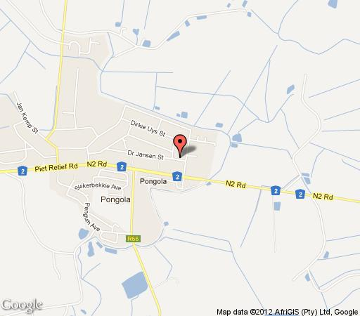 Map The Guest House Pongola in Pongola  Zululand  KwaZulu Natal  South Africa
