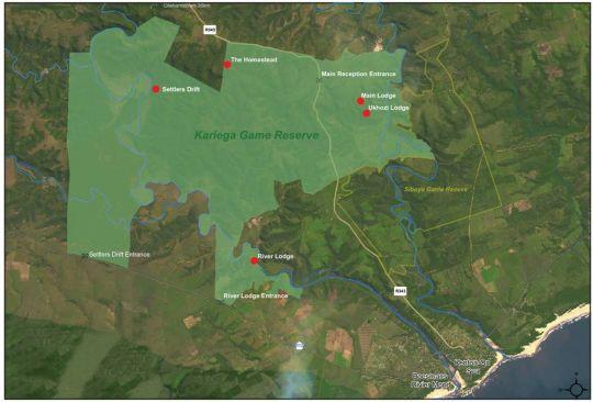 Map Kariega Game Reserve - River Lodge in Kenton-on-Sea  Cacadu (Sarah Baartman)  Eastern Cape  South Africa