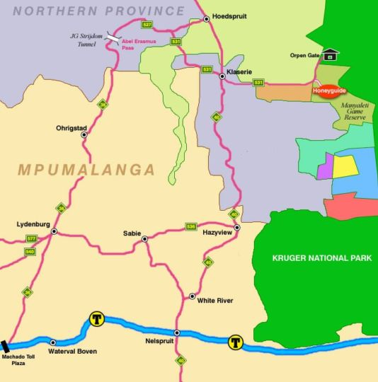 Map Honeyguide Tented Safari Camps in Manyeleti Game Reserve  Greater Kruger Park  Kruger National Park (LIM)  Limpopo  South Africa