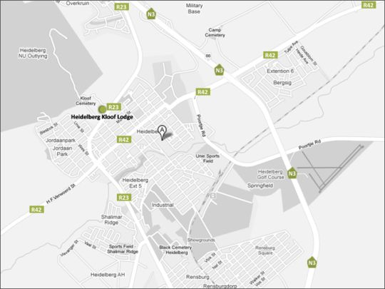 Map Heidelberg Kloof Lodge in Heidelberg  Sedibeng District  Gauteng  South Africa