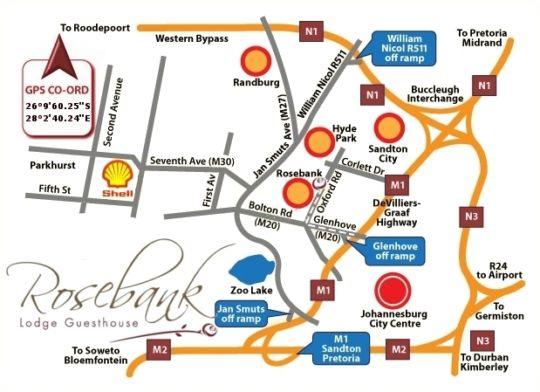 Map Birdview Rosebank B&B in Rosebank (JHB)  Northcliff/Rosebank  Johannesburg  Gauteng  South Africa
