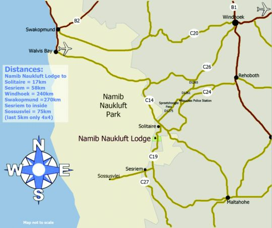 Map Namib Naukluft Lodge in Maltahohe  Hardap  Namibia