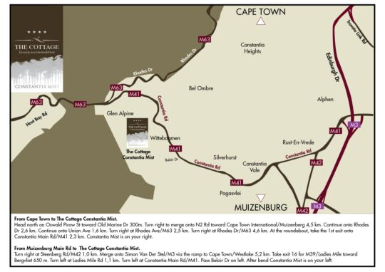 Map The Cottage at Constantia Mist  in Constantia (CPT)  Southern Suburbs (CPT)  Cape Town  Western Cape  South Africa