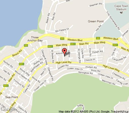 Map Bayflowers Guesthouse in Three Anchor Bay  Atlantic Seaboard  Cape Town  Western Cape  South Africa