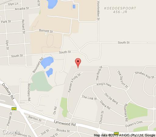 Map Farmers Folly Guest House in Lynnwood  Pretoria East  Pretoria / Tshwane  Gauteng  South Africa
