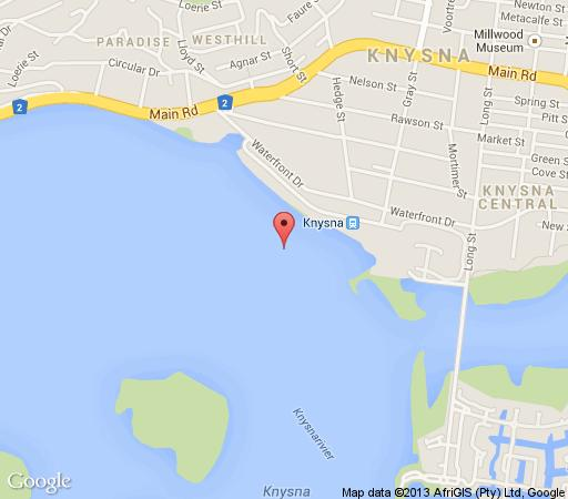 Map Knysna Houseboat Myrtle in Knysna  Garden Route  Western Cape  South Africa
