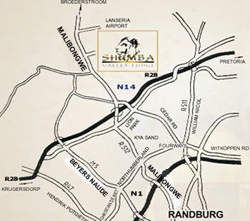 Map Shumba Valley Lodge in Lanseria  Midrand  Johannesburg  Gauteng  South Africa