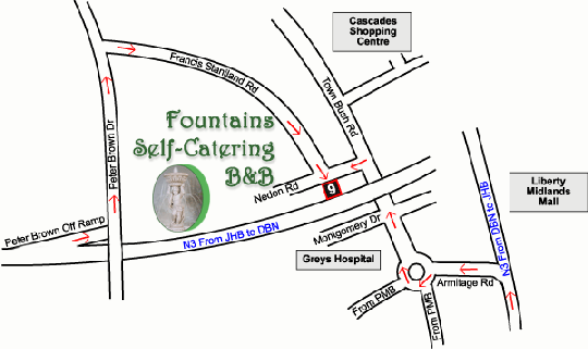 Map Fountains Self Catering B&B in Montrose  Pietermaritzburg  Midlands  KwaZulu Natal  South Africa
