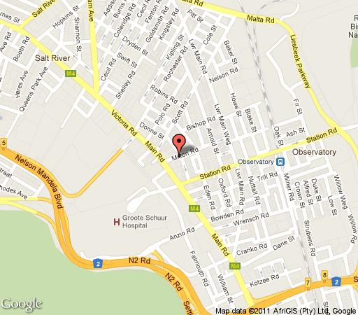 Map Green Elephant Backpackers in Observatory (CPT)  Southern Suburbs (CPT)  Cape Town  Western Cape  South Africa