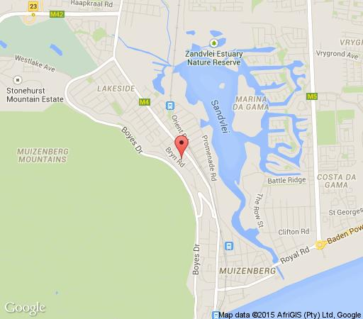 Map Capeblue Manor House in Muizenberg  False Bay  Cape Town  Western Cape  South Africa
