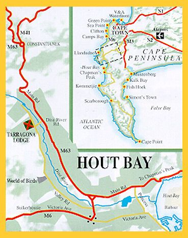 Map Tarragona Lodge in Hout Bay  Atlantic Seaboard  Cape Town  Western Cape  South Africa