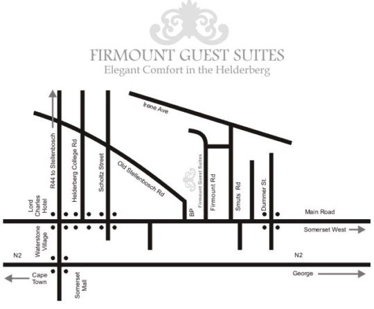 Map Firmount Guest Suites in Somerset West  Helderberg  Western Cape  South Africa
