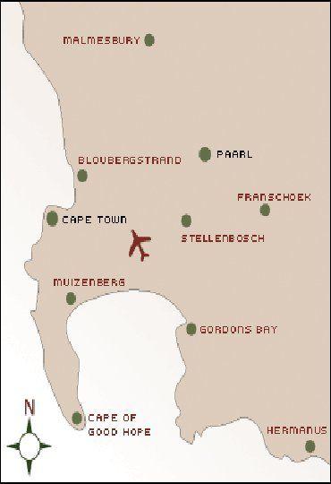 Map Oak Tree Lodge in Paarl  Cape Winelands  Western Cape  South Africa