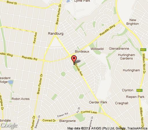 Map Randburg Boarding House in Bourdeaux  Randburg  Johannesburg  Gauteng  South Africa