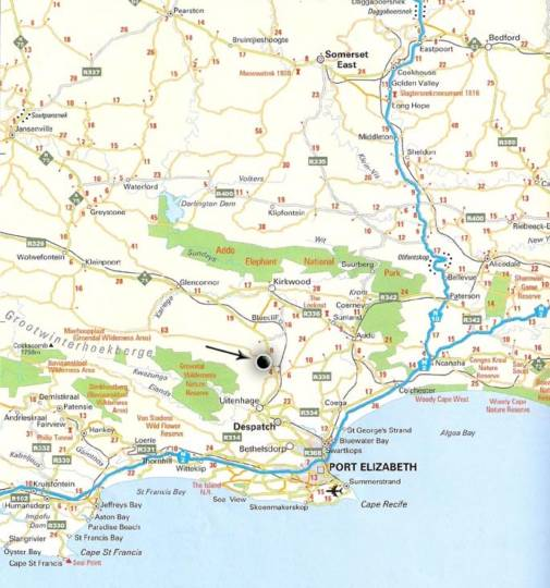 Map Valley Bushveld Country Lodge in Addo  Cacadu (Sarah Baartman)  Eastern Cape  Südafrika