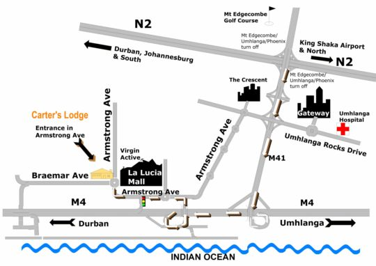 Map Carter\'s Lodge in Umhlanga Rocks  Umhlanga  Northern Suburbs (DBN)  Durban and Surrounds  KwaZulu Natal  South Africa
