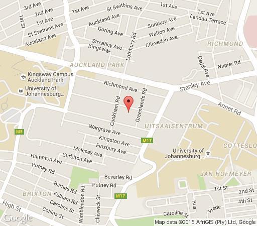 Map Twickenham Villa in Auckland Park  Northcliff/Rosebank  Johannesburg  Gauteng  South Africa