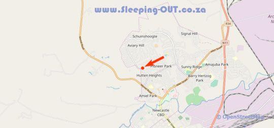 Map Guesthouse Marisch in Newcastle  Battlefields  KwaZulu Natal  South Africa