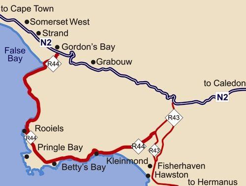 Map Die Rotse Host House & Self-Catering in Kleinmond  Overberg  Western Cape  Südafrika