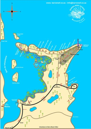 Map Tofo Beach Accommodation in Tofo  Inhambane  Mozambique