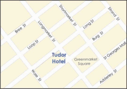 Map Tudor Hotel in Cape Town CBD  City Bowl  Cape Town  Western Cape  South Africa