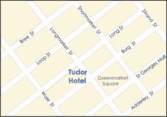 Map Tudor Hotel in Cape Town CBD  City Bowl  Cape Town  Western Cape  South Africa