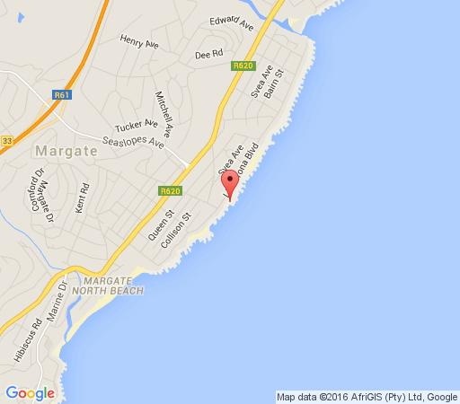 Map Aquarius Beach House in Uvongo  South Coast (KZN)  KwaZulu Natal  South Africa