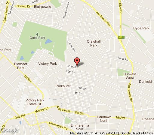 Map Windmill House in Parkhurst  Northcliff/Rosebank  Johannesburg  Gauteng  South Africa
