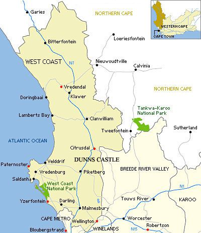 Map Dunns Castle Self Catering & Guesthouse  in Piketberg  Swartland  Western Cape  South Africa
