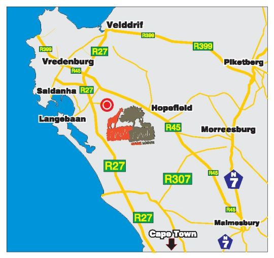 Map Thali Thali Game Lodge in Langebaan  West Coast (WC)  Western Cape  South Africa